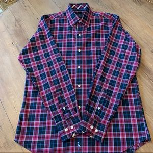 Tailorbyrd black & pink plaid long sleeve shirt-M